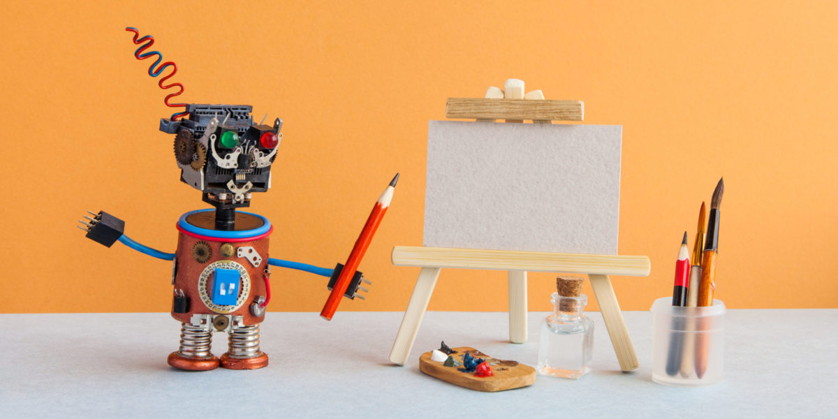 Robot artist begins to create a drawing with a pencil. White paper mockup, wooden easel and artist's tools palette, pencils case
